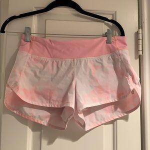Pink tie-dye lulu speed shorts